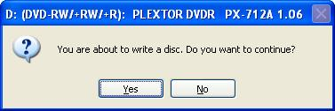 You're about to write a cd