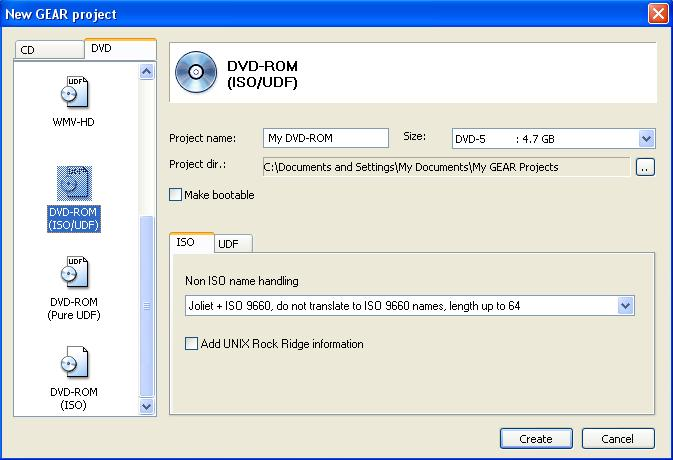 Create DVD ROM Window